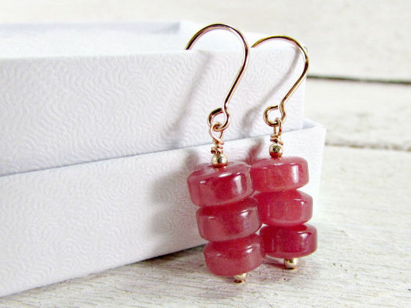 Red Jade Earrings- Sterling Silver, 14K Gold Filled or Rose Gold Filled- Semi Precious Stones Gemstone Jewelry- Valentines Day Gift for Wife