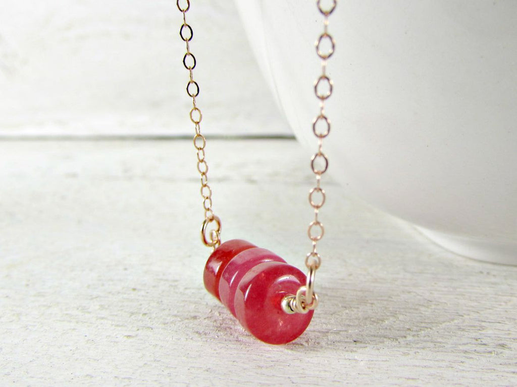 Red Jade Gemstone Disk Bead Necklace