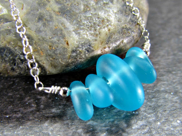 Blue Sea Glass Bead Necklace