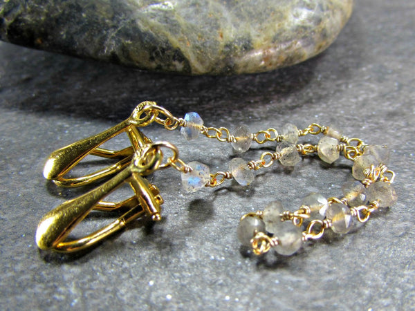 Labradorite Sweater Clip, 14K Gold Filled, Sweater Guard Clasp / Cardigan Clip Chain / Shawl Collar Clips, Gemstone Jewelry, Gift for Mom