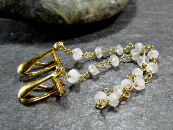 Moonstone Sweater Clip, 14K Gold Filled, Sweater Guard Clasp / Cardigan Clip / Shawl Collar Clips, June Birthstone Jewelry, Birthday Gift