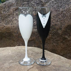 Hand-Painted Champagne Flutes
