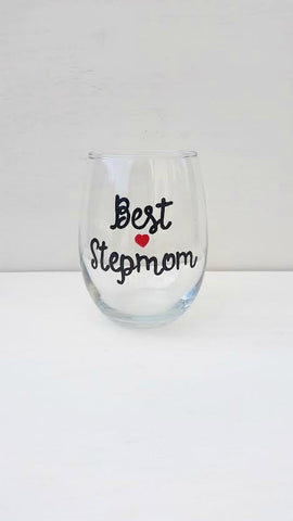 Best Stepmom handpainted wine glass