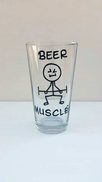 Beer Muscles funny pint beer glass
