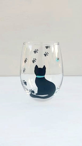 Cat handpainted wine glass for cat lovers