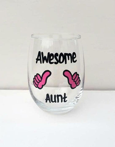 Awesome Aunt Best Aunt handpainted wine glass