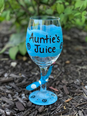 Auntie's Juice hand-painted wine glass