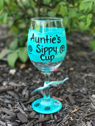 Auntie's Sippy Cup hand-painted wine glass