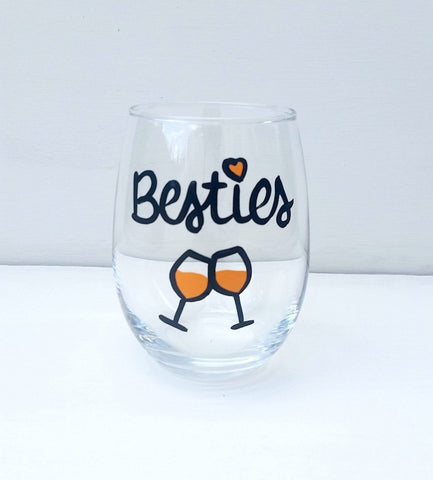 Bestie handpainted wine glass