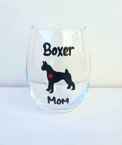 Boxer Mom Boxer Dad wine glass