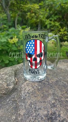 "Patriotic skull ""Land of the Free because of the Brave"" hand-painted beer mug"