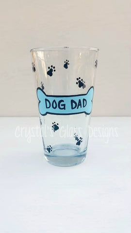 Dog Dad handpainted pint beer glass for dog lovers