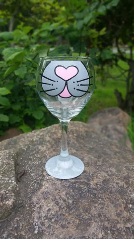 Cat Face handpainted wine glass for cat lovers