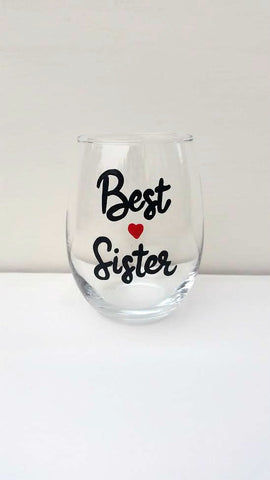 Best Sister handpainted wine glass