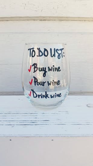To-do list funny handpainted wine glass