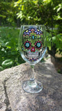 SUGAR SKULL hand-painted wine glass WITH STEM  (LIGHT PURPLE FLOWERS)