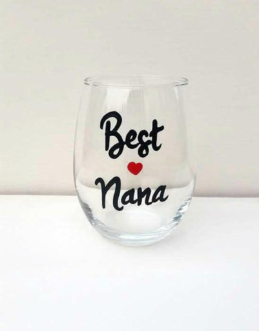 Best Nana handpainted wine glass