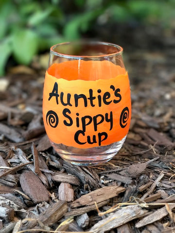 Auntie's Sippy Cup handpainted stemless wine glass