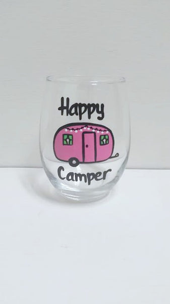 Happy Camper handpainted stemless wine glass or pint glass