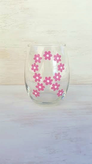 Cancer Awareness Flower Ribbon hand-painted wine glass