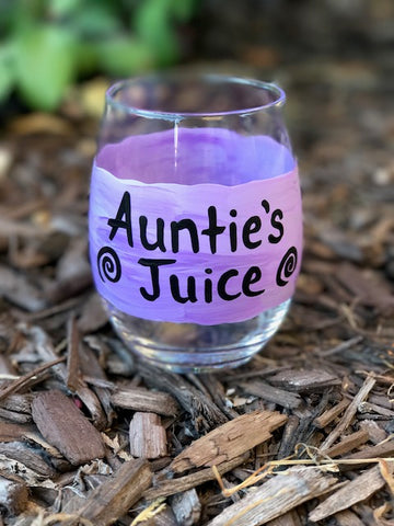 Auntie's Juice wine glass