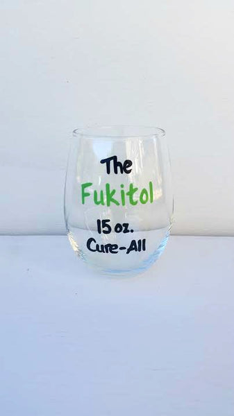 Fukitol 15 oz. Cure-All hand-painted stemless wine glass