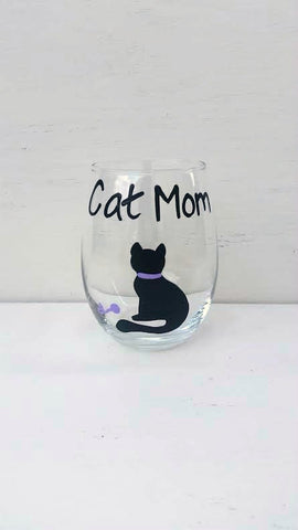 Cat Mom handpainted wine glass for cat lovers
