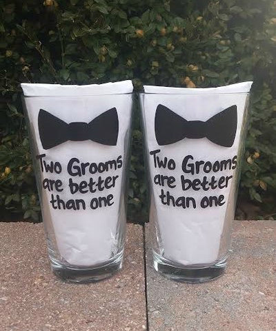 Gay Wedding Engagement handpainted glasses