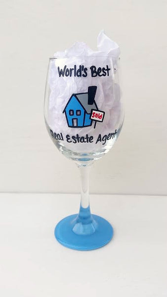 Real Estate Agent Realtor handpainted wine glass