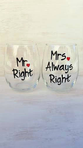 Mr Mrs Always Right wedding wine glasses