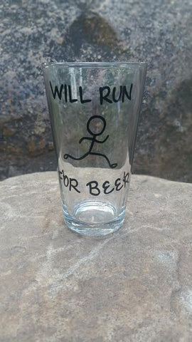 Will run for beer funny pint beer glass
