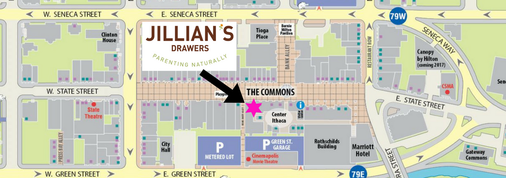Map to Jillian's Drawers on the Ithaca, NY Commons