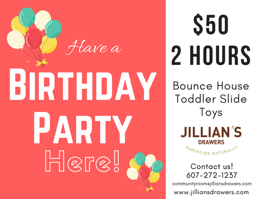Rent our Community Room for your child's birthday party at Jillian's Drawers