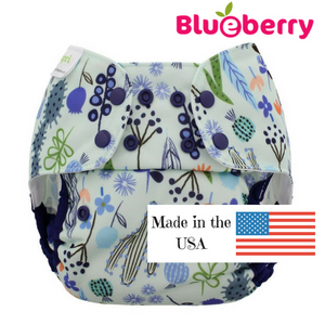 Blueberry Capri One-Size Diaper Cover, Sedona print, desert plants in blues and purples on white background, made in USA logo, 12 - 35 lb.