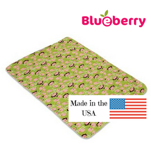 "Blueberry Waterproof Mattress Pad, made in USA, measures 28"" x 34"","