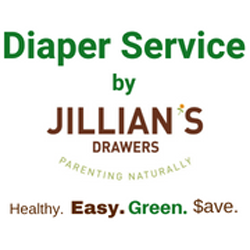 rose colored gift box with white ribbon with the Jillians Drawers logo and the words, Give Toward Diaper Service