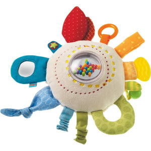 All the colors of the rainbow are featured on the soft HABA cuddly rainbow round teether