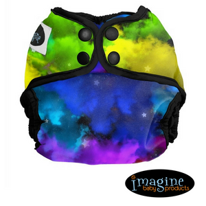 Snap closure Imagine Newborn Diaper Cover, Rainbow Skies print, tied dyed pattern in brilliant blue, purple, greens, and yellow with Imagine logo