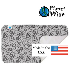 "planet wise changing pad, Lace print, shades of grey stars and designs on grey background measures 13"" x 21"" with made in USA logo"