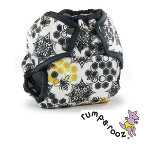Rumparooz Kanga Care One Size Cloth Diaper Cover in Unity print, black and white with bees