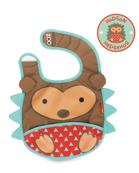 Skip Hop Zoo foldable bib with pouch, comes in various animal themes