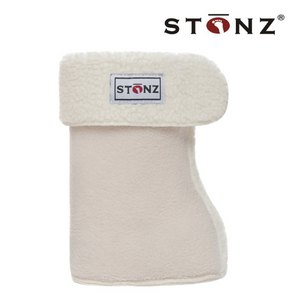 Stonz fleece bootie liners come in 4 sizes and are machine washable and dryable