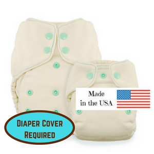 Thirsties Natural Fitted Diaper, made from Bamboo, in two sizes, made in the usa