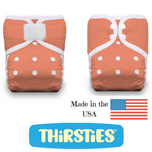 Thirsties One Size Pocket Diapers are available in Hook and Loop or Snap closures and are made in the USA