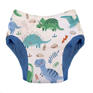 Thirstiest Potty Training Pant in Classic Jurassic print, t-rex, stego, tyranno, tera in colorful colors on white background, made in USA