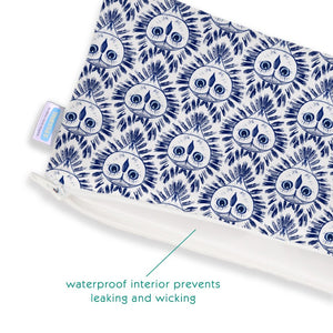 "thirsties clutch wet bags measure 10.5""W X 5.5""H and are made in the USA"