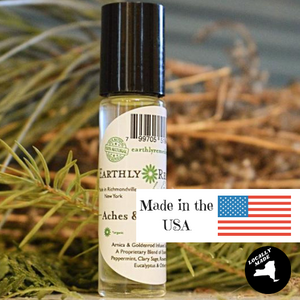 Earthly Remedies aches and pains roll-on is made in the USA