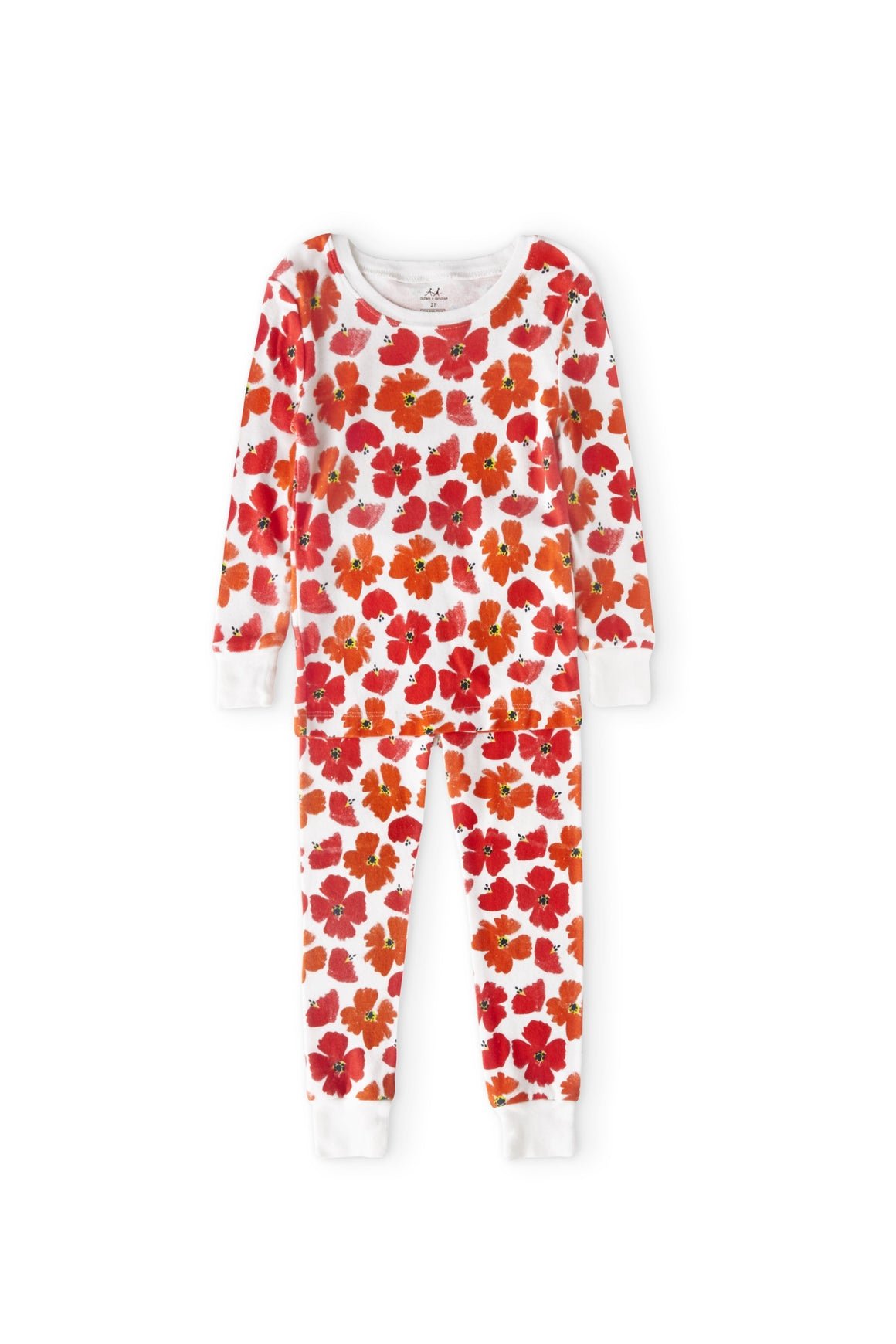 Aden & Anais Sleepwear, 2 piece cotton pajama set, shown in red poppy print