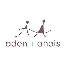 Aden & Anais Bandana Bib with brand logo, shown in grey and aqua dotted stripe pattern
