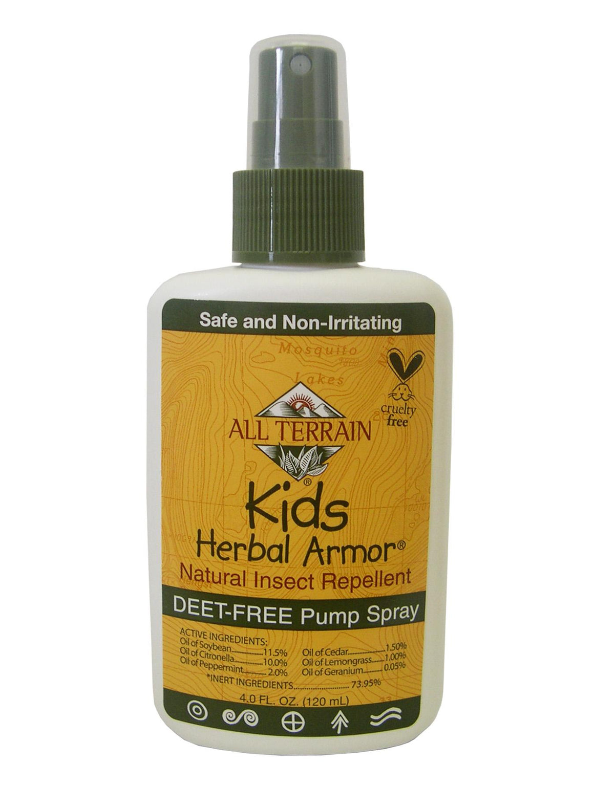 All Terrain Kids Herbal Armor Natural Insect Repellent, 4 oz spray pump and DEET free